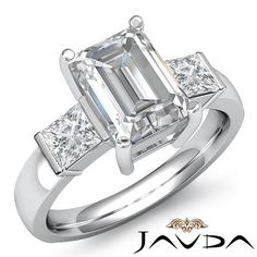 Women's Emerald Diamond Three Stone Engagement Ring GIA F SI1 Platinum 1 6 Ct | eBay
