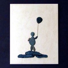 3D Pebble Art on ceramic tile  Child with by BeachWalkCreationsCA, $48.00