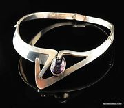 1950's Taxco Sterling Silver Amethyst Early Sigi Pineda Choker Necklace 13""