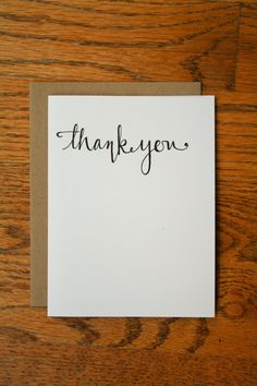 Thank You Hand Lettering card by LauraFrancesDesigns on Etsy, $4.00