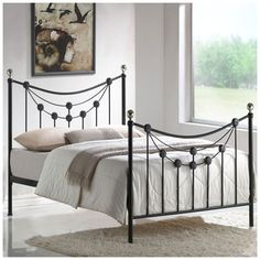 This 4ft6 Double Black Metal Bed is designed to a high quality and beautifully designed with straight and curved edge stylish features. Metal Bed Frames for any bedroom