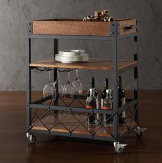 Rustic Kitchen Serving Cart Wine Bar Industrial Style Tray Wheels Tea Rolling