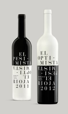 Optimistic and Pessimistic are a couple of premium wines designed by Sidecar Design