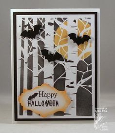handmade Halloween card .. Spooky Night by Clownmom ... birch tree embossing folder with brayered background black night and full orange moon ... trio of punched/die cut bats ... luv it! ... Stampin' Up!