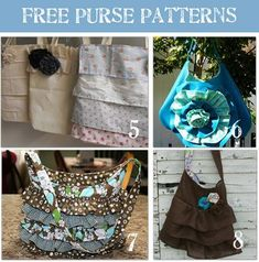 24 Beautiful Purse Patternsby Laurie We just learned how to sew the perfect pleats and today's sewing projects are beautiful purse patterns.  {{squeal in delight}}  Hopefully, you'll love these purse patterns as much as I do.  Many of these purse patterns are very easy and even no sewing projects.  I hope they inspire you to make something gorgeous today.