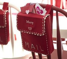 Valentine card pack for the back of a chair