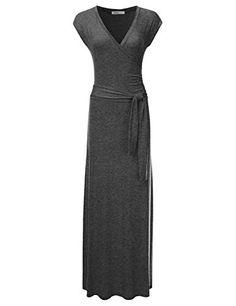 2e7f3b81113 NINEXIS Womens VNeck Cap Sleeve Waist Wrap Front Maxi Dress CHARCOAL L   gt  gt
