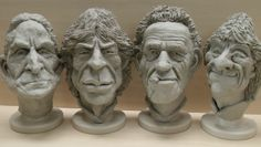 The Rolling Stones, Character heads by Richard Austin.Sculpture Workshop.