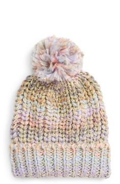 Cotton-candy colors mix with shimmery metallic threads on this cozy knit  beanie topped with a playful pompom. 26fa6d9ecb91