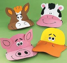 12 Foam Farm Animal Visors - Fun Party Hats: Throw a fun farm-themed party! These silly caps will make your guests giggle. Kids love impersonating their favorite barnyard animal. Each foam visor has an elastic band. Animal Masks For Kids, Mask For Kids, Activities For Kids, Crafts For Kids, Party Activities, Little Red Hen, Animal Hats, Farm Birthday, Farm Party
