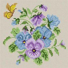 Pansy Bouquet Susan Treglown mesh: dimension: 6 x 6 Butterfly Cross Stitch, Cross Stitch Heart, Cross Stitch Flowers, Cross Stitching, Cross Stitch Embroidery, Hand Embroidery, Embroidery Designs, Cross Stitch Designs, Cross Stitch Patterns