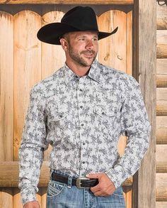 Rock & Roll Cowboy Men's Poplin Print Long Sleeve Shirt With Snaps