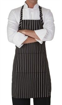 Chef Adjustable Bib Apron - Chalk Stripe Black Style 4300CB #chefuniforms #aprons