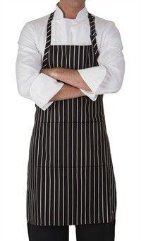 Chef Adjustable Bib Apron - Chalk Stripe Black Style 4300CB #chefuniforms #aprons