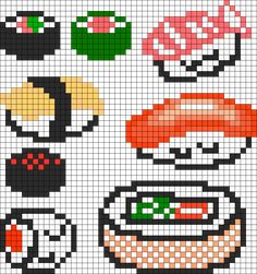 Sushi Set perler bead pattern