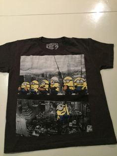 Despicable Me T-shirt For Boys Size S 5-6 Gray Color With Design