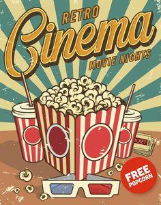 Vintage cinema poster with popcorn cola glasses. Retro Kunst, Retro Art, Retro Vintage, Vintage Prints, Vintage Coke, Vintage Travel, Room Posters, Poster Wall, Poster Prints