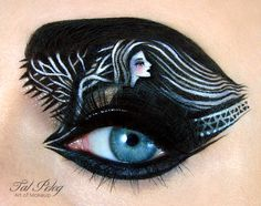We are not sure where makeup artist Tal Peleg gets her painter's high, but she sure does some outrageously intricate and fun eyelid art. The one with the crying rainbows gets us every time we look at it.