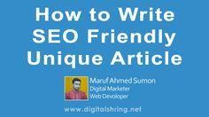 How to write SEO friendly Unique Article | Digital Education Online-Digital Marketing Bangladesh
