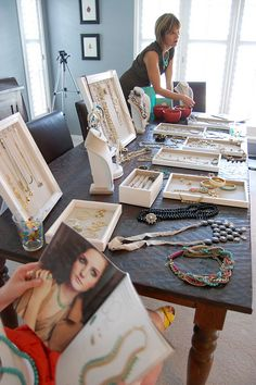 """aka """"trunk show""""-- not to be overwhelmed by... very casual and all the jewelry out on a table for friends to play with and feel beautiful...so fun!"""