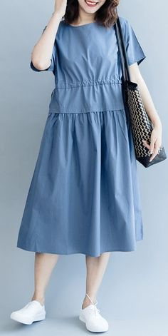 Summer blue maxi dresses women cotton clothes modest fashion in 2019 женс Short Beach Dresses, Summer Dresses For Women, Tumblr Shirt, Lady, Outfit Trends, Casual Dresses, Maxi Dresses, Cotton Dresses, Mode Hijab