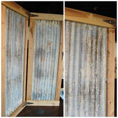 Free Ship Industrial Room Divider Screen Bifold With Corrugated Metal Rustic Solid Wood Wooden Large Hinged Folding Two 2 Panel