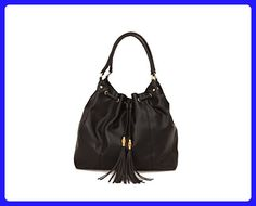 33be09e828 Olivia   Joy Womens Designer Handbags Autumn Faux Leather Drawstring Tote  Shoulder Bag with Tassels Black