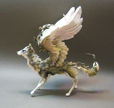 Wolf Sculpture with Wings Magical Creatures, Fantasy Creatures, Animal Sculptures, Sculpture Art, Ooak Dolls, Art Dolls, O Pokemon, Paperclay, Mythological Creatures