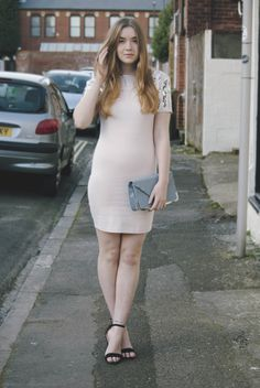 Rebecca from Tea Toast Fashion wearing the pink GLITTERATI rdess