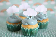 Baby Shower Theme, Cloud Cupcake Toppers, Rainy Day theme, Showers, 12 cloud toppers. $4.50, via Etsy.