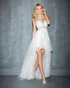 Elegant Sweetheart White Organza Beaded High-low Zipper Up A-line NTGowns Prom Dresses/ Evening Dresses/ Formal Dresses 7064