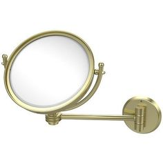 Allied Brass Wall Mounted Make-Up 2X Magnification Mirror with Dotted Detail Finish: Satin Brass