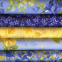 Summer Breeze II by Sentimental Studio for Moda Fat Quarter 5 B Blue and Yellow Sewing Hacks, Sewing Crafts, Yellow Quilts, Quilt Material, Fabric Combinations, Textiles, Coordinating Fabrics, Fabulous Fabrics, Floral Fabric