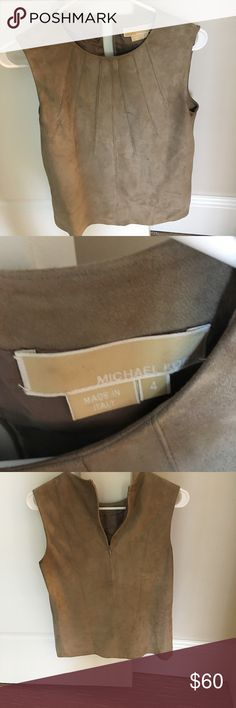 Michael kors olive top Suede top by Michael Kors. some wear to it but 100% genuine leather. Made in Italy Michael Kors Tops