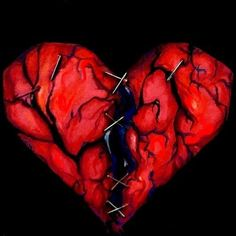 "This is the most altered version of my ""Holding my broken heart'. My broken heart in black"
