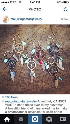 OOAK Custom DREAMCATCHER Keychain - Made to order - Handmade with Gemstones - Feathers - Quartz Crystal - Wire wrapped on Etsy, $24.00