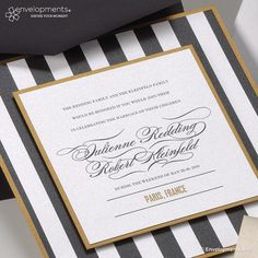 Modern Wedding Invitation, Classic Wedding Invitation, Vintage Wedding Invitation, Black and White Striped Wedding Invitations on Etsy, $10.00