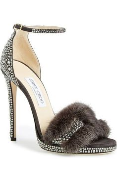 Jimmy Choo 'Kaylee' Genuine Mink Fur Sandal (Women) available at #Nordstrom