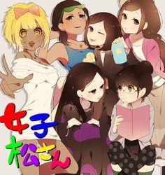 Girlmatsu  Characters: Osomatsu; Karamatsu; Choromatsu; Ihimatsu; Juushimatsu; Todomatsu
