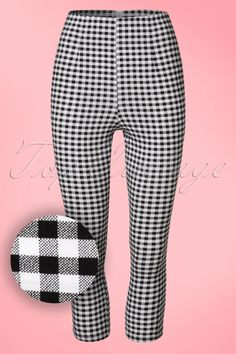 These 50s Judy Capri Pantsis truly a must-have! We know one thing for sure; this cutie is a juwel to see and a dream to wear! Made from a lovely stretchy fabric with a classic black/white BB gingham print for an amazingly comfy fit. Brigitte Bardot and Marilyn Monroe would have worn this beauty proudly, what about you? ;-)   Fitted style Flattering high waist 7/8 legs with small slits at the back Zipper at the back