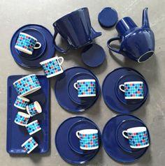 Melitta-Stockholm-Blau-Kariert-Kaffeeservice-5-Pers-Eierbecher-Keramik