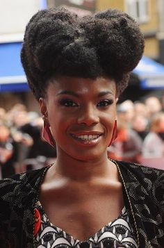 The Noisettes' lead singer Shingai Shoniwa always wears the most elaborate and inventive natural hairstyles in show business