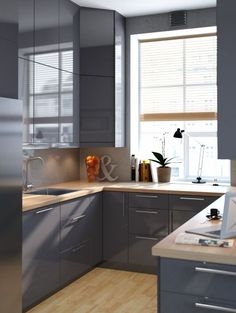 Modern Kitchen Design – Want to refurbish or redo your kitchen? As part of a modern kitchen renovation or remodeling, know that there are a . Grey Gloss Kitchen, Grey Kitchen Cabinets, Ikea Kitchen, Kitchen Interior, Kitchen Decor, Oak Cabinets, Kitchen Island, Kitchen Ideas, Grey Kitchens