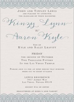 Kinzy and Aaron Front Wedding Invitations Traditional Wedding Invitations, Lace Wedding Invitations, Las Vegas Temple, Invitation Maker, Wedding Announcements, Classic, Derby, Classic Books