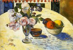 Flowers in a fruit bowl.  Paul Gauguin.  1894