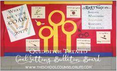 Harry Potter Quidditch bulletin board - goal setting - smart goals - school counselor - teacher - SEL