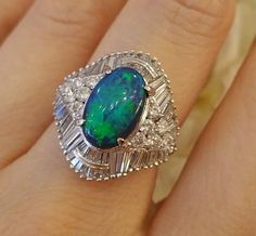 Estate 2.61 ct Black Opal & 1.85 ct Diamond Platinum Ring - HM1491