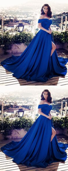 Charming Navy Blue Satin V-neck Off Shoulder Prom Dresses Long Evening Gowns With Front Split
