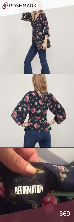 Reformation Kimono Floral Too Reformation Kimono top. Full details above. Note slits under armpits. Somewhat adjustable in size with wrap style. So pretty. Reformation Tops