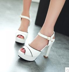 Women new fashion Summer elegant 12cm high thick heels sandals open toe gladiator soft buckle shoes large plus size 40-43
